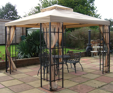 Arrowhead Buckingham gazebo - Beige/Brown & Deluxe metal framed Hot tub gazebo spa bath shelters with side ...