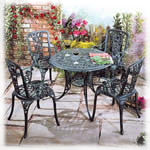 Round rose cast patio set