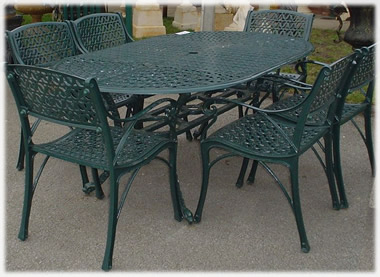 large oval cast iron furniture set