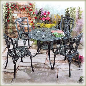 Rose Pattern Cast Iron Patio Garden Furniture Set. Ref:CK2