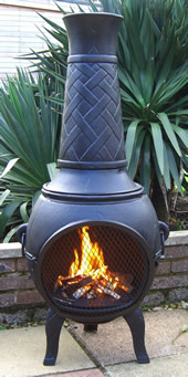 Buy The 53 Inch Basketweave Cast Iron Chiminea Online From The Largest Range Of Cast Iron Chimineas In The Uk