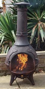 Bronze Finish* Castmaster Calico Cast Iron Chiminea FREE BBQ Grill included