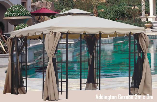 Addington Luxury Metal Garden Party Gazebo With Curtains