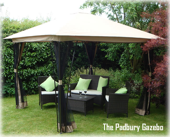 The Padbury garden party gazebo with mosquito nets