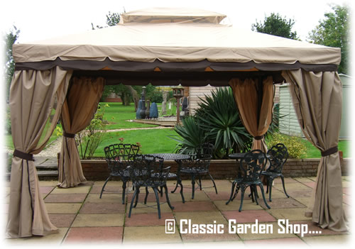GARDEN PARTY GAZEBO MARQUEE TENT WITH CURTAINS MOSQUITO NETS