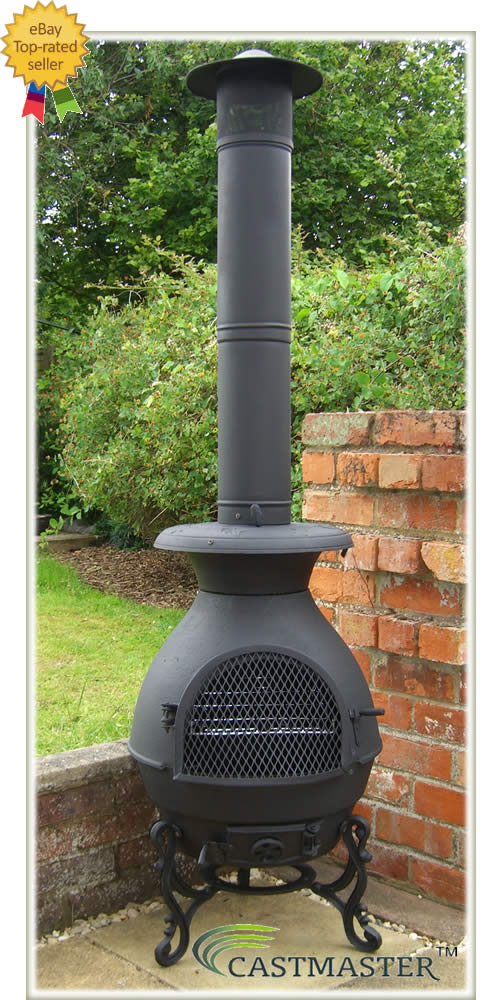 Chiminea Spark Arrestor : Castmaster cast iron king ft bbq pot belly stove chiminea