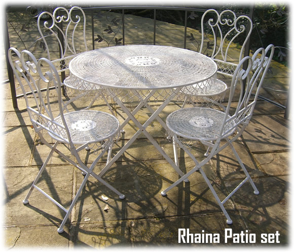 Wrought iron shabby chic garden patio furniture set rh1 - Garden furniture shabby chic ...