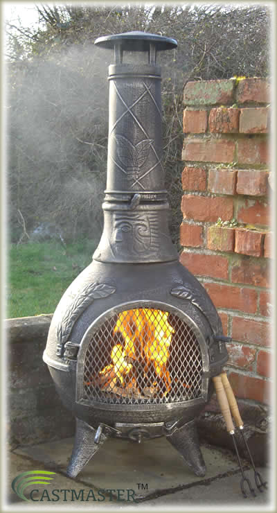 Amazing CASTMASTER MEXICAN AZTEC STYLE CAST IRON CHIMINEA CHIMENEA BBQ PATIO HEATER  PW